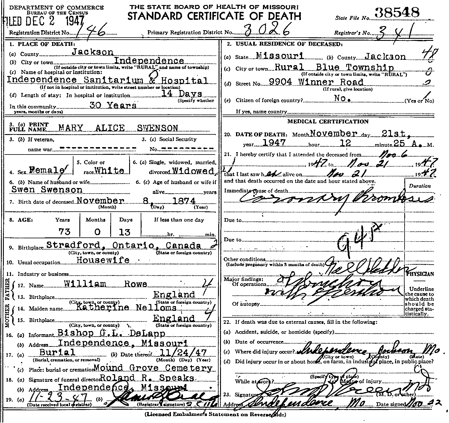 Mary alice rowe death certificate